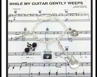 Music While My Guitar Gently Weeps George Harrison inspired bracelet jewelry by Uberjewelrydesigns