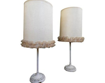 Shabby Chic Lamps, Pair Of Lamps, Vintage Lamp Set, Lamps Vintage, 50s Lamps, Lace Lampshade, Bedroom Lamps, Cute Lamps, Ruffle Lampshade