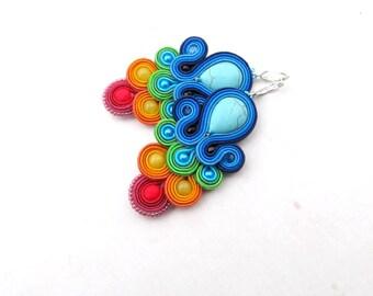 Rainbow Dangle Earrings , Colorful Soutache Earrings , Handmade Beaded Jewelry, Rainbow Earrings, Colorful Earrings, Dangle Earrings