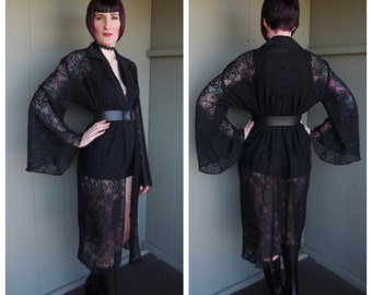 Vintage 90s Does 70s Black Floral Lace Bell Sleeve Duster Kimono Robe - OS