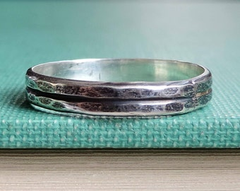 Hammered Double Ring Band | Sterling Silver | Shiny, Brushed or Oxidized Patina, Custom // Made to Order