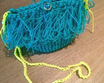 Green crochet fluffy purse!