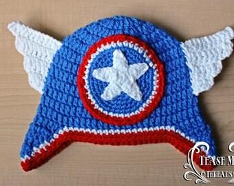 Captain America Crochet Hat_ Avengers Hat_ Captain America Costume Hat