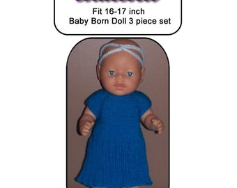 Baby Born Knitting Pattern BLUEBELL fits 16 to 17 inch dolls (pattern only)