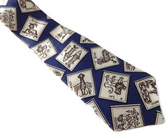 Zodiac Signs Necktie Blue and White