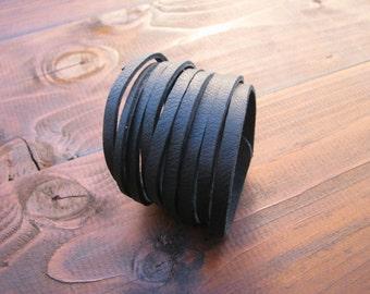 Leather black bracelet