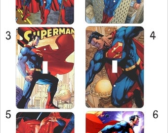 Metal Superman Light Switch Cover Selection - Superman - 1T Single Toggle - Super Hero