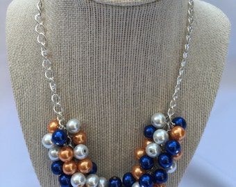 Pearl Cluster Necklace - UVA necklace - Florida Necklace - Auburn Necklace -Blue Orange Necklace - Bridal Cluster Necklace - Orange Necklace