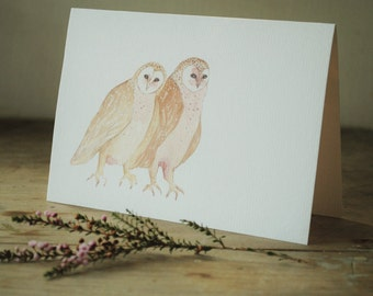 Greeting card | Australian owls watercolour | blank inside | anniversary | Valentines Day