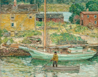 "Childe Hassam : ""Oyster Sloop, Cos Cob"" (1902) - Giclee Fine Art Print"