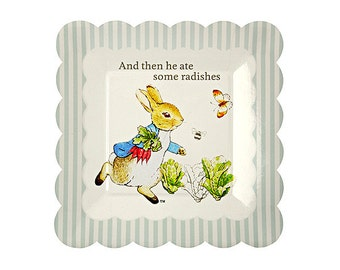 "Peter Rabbit Small Paper Plates (Set of 12) - 7x7"" - Meri Meri Beatrix Potter Party Plates (Licensed)"