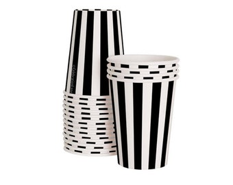 Black Tie Black Striped Party Cups (Set of 12)
