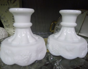 Pair of milk glass candle holders - Westmoreland paneled grape