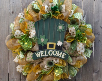 St. Patricks day wreath with tophat XL