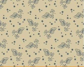 Windham Let Freedom Ring American Tan with Blue Star and Leaf 40950-3 Fabric BTY