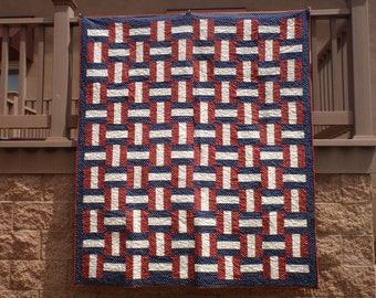 American Patriotic Basketweave Rail Fence like Fabric Valor Quilt QOV Kit Red Blue