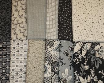 Neutral Territory Black Grey and Cream RJR Fabric 12 Fat Quarter Set