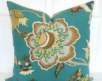 Teal Pillow Cover - Decorative Pillow 18x18, 20x20, 22x22, Lumbar - Jacobean Teal, Avocado Green -Toss Pillow - Floral- Accent Pillow