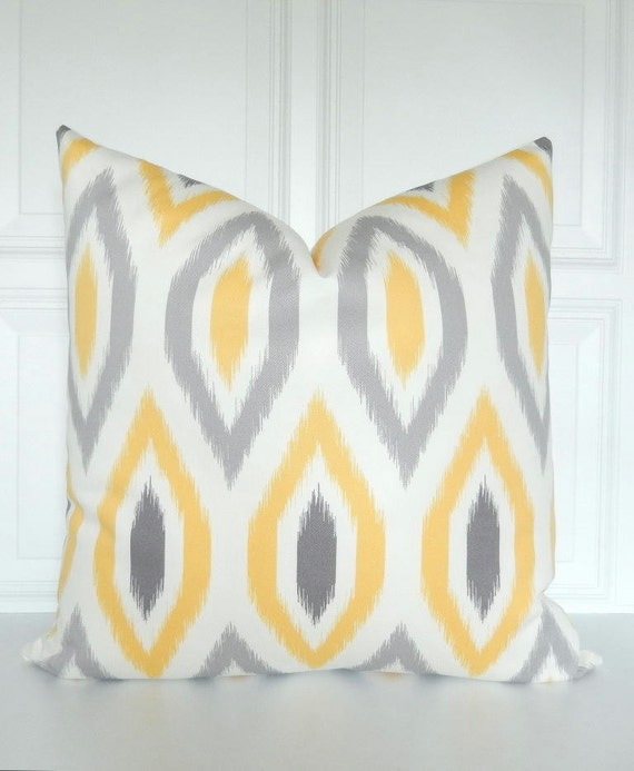 Yellow And Grey Throw Pillow Covers : Yellow and Grey Pillow Cover Ikat Throw Pillow