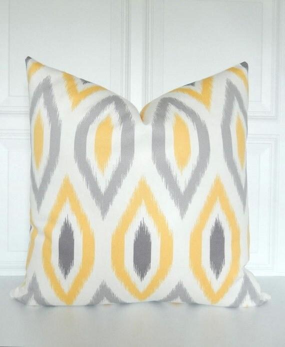 Yellow and Grey Pillow Cover Ikat Throw Pillow