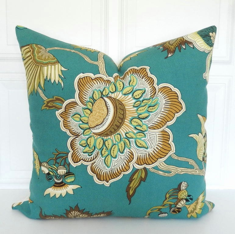 Teal Pillow Cover Decorative Pillow 18x18 20x20 22x22