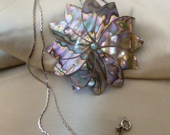 ABALONE 925 Sterling Silver Swirl Flower Brooch and Necklace Combination, Signed TAXCOwith Chain, Vintage 60s