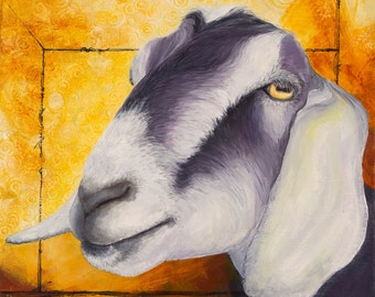"Nubian Goat, ""Learn The Rules. Then Break Some."" original acrylic painting"