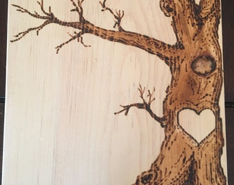 Wood burned tree with your initials