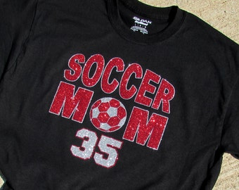"SOCCER Mom Black Glitter Bling T-Shirt with ""SOCCER MOM"" in Sparkling Glitter with Your Players Number and Your Choice of Colors"