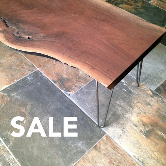 Vintage Industrial Live Edge Walnut Slab Coffee Table: SALE: Marquis Coffee Table Live Edge Black Walnut Coffee