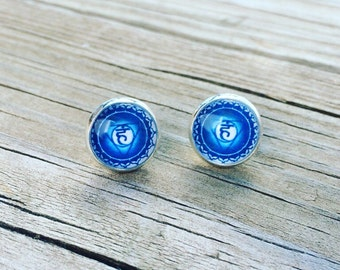 Blue Throat Chakra ( Vishuddha ) Glass Earrings