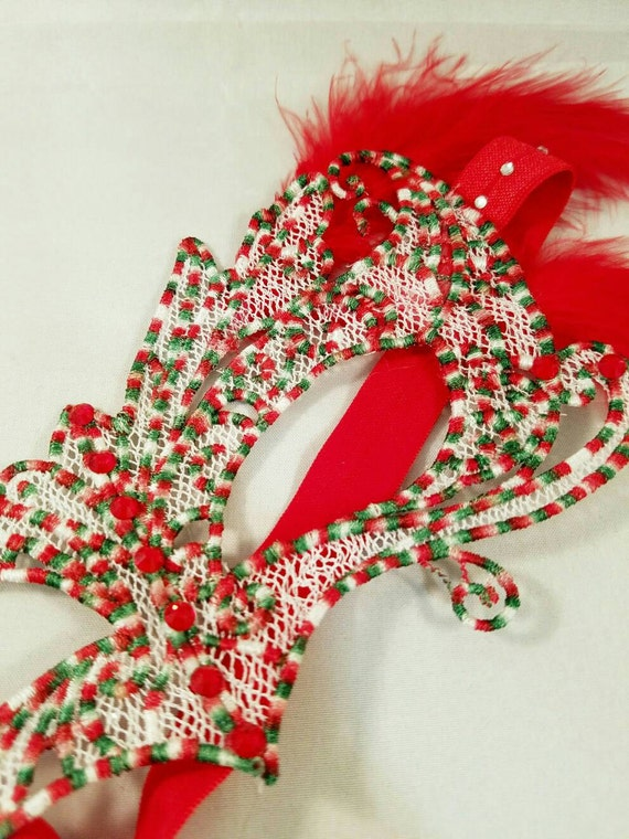 Candy cane tree mask! Embroidered lace feather crystal mask masquerade ball dance prom holiday