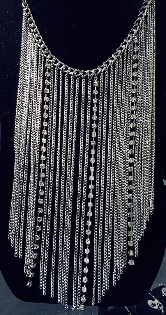 Multi silver chain rhinestone thick bib necklace