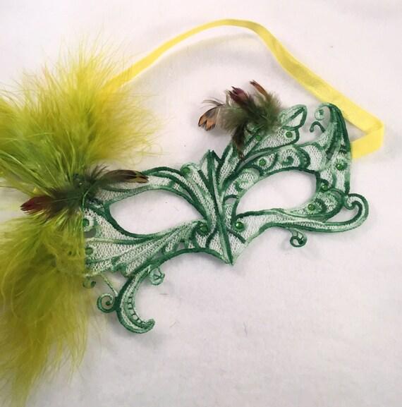 Moss Garden! Lace feather crystal mask masquerade ball mardis gras