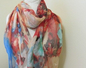 Hand dyed blue,browns abstract Silk Scarf, gift