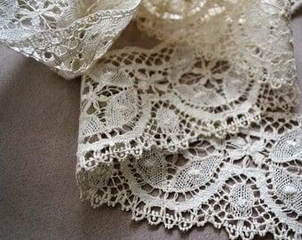 Antique Bobbin Lace, Handmade Torchon Lace Flounce, 1900-10, 3.2 Yards