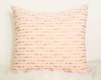 Throw Pillow, Decorative Pillow Cover, Nursery Pillow, Gold Arrows, Gold and Pink Pillow, Pillow Cover for Throw Pillow, cotton pillow cover