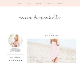 Feminine Blogger Template - Mason & Mirabelle - Responsive Blogger - Fashion Blog Design - Blogger Templates - Lifestyle Blogger