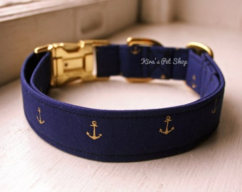 Anchor Dog Collar, Nautical Dog Collar, Designer Dog Accessory, Pet Accessories, Adjustable Collar, Fabric Dog Collar, Gold Brass Hardware