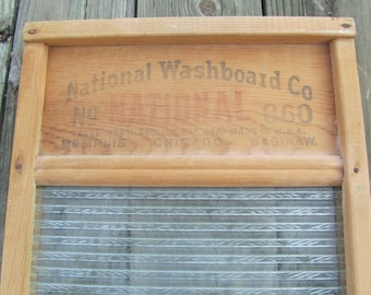 Vintage Washboard, Wood and Glass Washboard, National Washboard Company, Made in Chjcago Saginaw Memphis, Farmhouse Decor