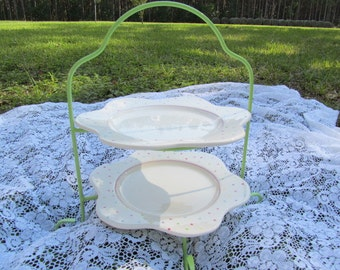 Vintage cake stand, wedding cake, cupcake stand, cookie plate,Plate stand,green,garden party,polka dots, spring colors, metal rack