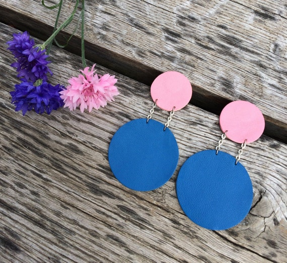 Pink and blue statement circle leather earrings