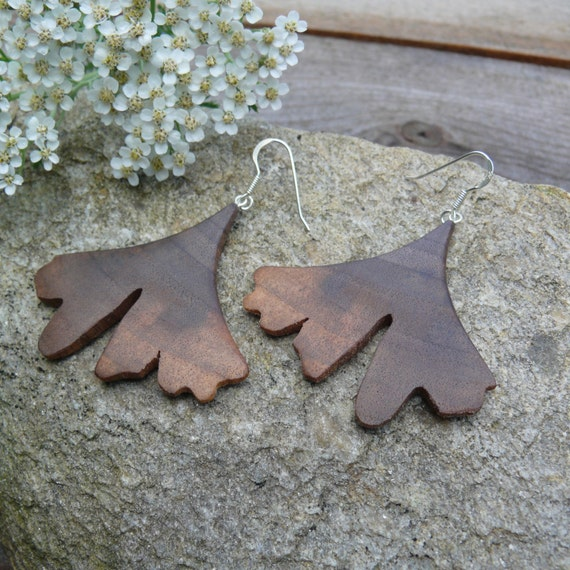 Ginkgo leaf earrings sterling, Sterling silver Leaf earrings, Boho Wood earrings, Leaf dangle earrings, Ginkgo leaf jewelry, Gift for wife