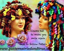 Cancer Hat Crochet  Pattern, Happy Curly Hat, Fantasy Wig, Use Up Your Yarn Leftovers, Quick Cover, Instant Hairdo,