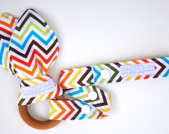 Baby Gift Set - Includes: Organic Bunny Ear Wooden Teether and Toy Leash - Rainbow - Bermuda Chevron - Gender Neutral Gift Set