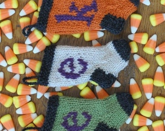 EEK Halloween Hand-Knit Christmas Stocking Ornaments