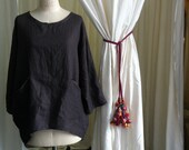 Linen womens smock in mulberry grey pure linen long freestyle size medium to large ready to ship