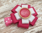 Valentine Hair Bow - Valentine's Day Hair Accessory - XOXO Pink Hair Clip - Valentine's Day Bow - XOXO Wooden Button Bow- Hair Accessory