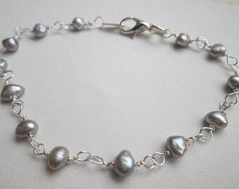 Silver Pearl 925 Sterling Silver Link Bracelet June Birthstone Genuine Natural Gemstone Gift for her Bridal Bride Wedding Valentine's mother
