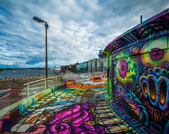 Graffiti on a building in Slussen, Södermalm, Stockholm, Sweden. | Photo Print, Stretched Canvas, or Metal Print.